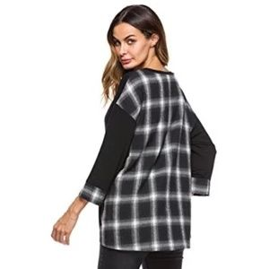 Lyoye Plaid Crewneck Tunic Top